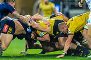scrum during the super rugby union  game between Hurricanes  and Highlanders, played at Westpac Stadium, Wellington, New Zealand on 24 March 2018.  Hurricanes won 29-12.