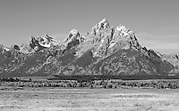 The Teton Range towering over Jackson Hole Valley in Wyoming