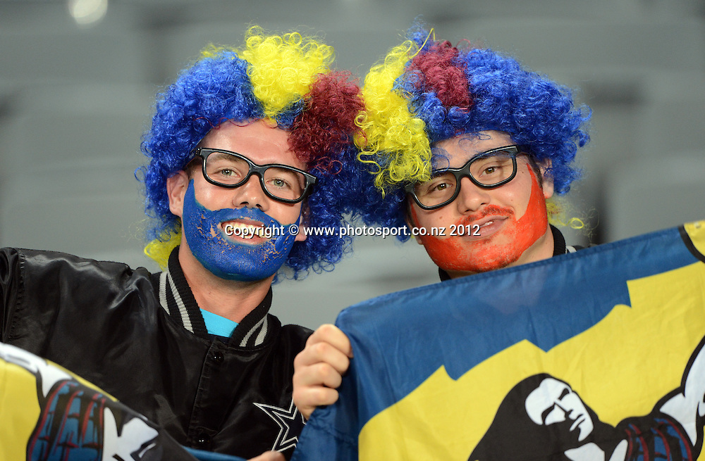 Highlanders fans during the Blues and Highlanders at Eden Park, Auckland, New Zealand on Saturday 26 May 2012. Photo: Andrew Cornaga/Photosport.co.nz