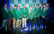(L-R) Jean Andersen & Raven Klaasen & Ruan Roelofse & Rik de Voest & John Laffnie de Jager trainer coach and captain of South Africa national team and Radoslaw Szymanik - captain of Polish team & Lukasz Kubot & Marcin Matkowski & Jerzy Janowicz & Kamil Gajewski & Mariusz Fyrstenberg all from Poland while official banquet two days before the BNP Paribas Davis Cup 2013 between Poland and South Africa at MOSiR Hall in Zielona Gora on April 03, 2013...Poland, Zielona Gora, April 03, 2013..Picture also available in RAW (NEF) or TIFF format on special request...For editorial use only. Any commercial or promotional use requires permission...Photo by © Adam Nurkiewicz / Mediasport