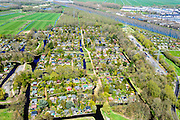 Nederland, Noord-Holland, Gemeente Amsterdam, 20-04-2015; Driemond, volkstuinen van Tuinpark Linnaeus. Gehele rechts, langs het Amsterdam-Rijnkanaal,  Tuinvereniging Frankendael . <br /> Allotments of Linnaeus Garden Park.<br /> <br /> luchtfoto (toeslag op standard tarieven);<br /> aerial photo (additional fee required);<br /> copyright foto/photo Siebe Swart