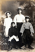 vintage studio family portrait with children only Japan