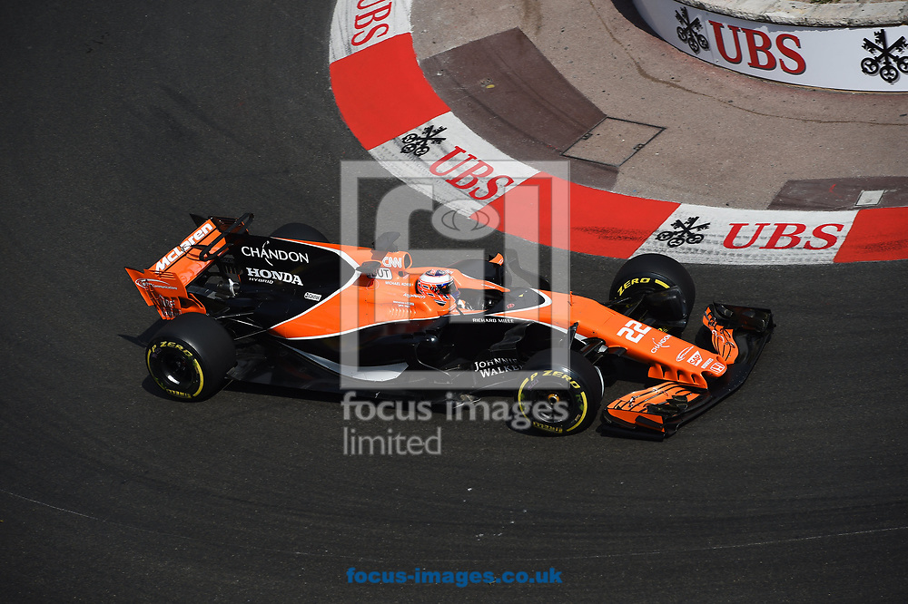 Jenson Button of McLaren Honda during the practice session for the 2017 Monaco Formula One Grand Prix at the Circuit de Monaco, Monte Carlo<br /> Picture by EXPA Pictures/Focus Images Ltd 07814482222<br /> 25/05/2017<br /> *** UK & IRELAND ONLY ***<br /> <br /> EXPA-EIB-170525-0171.jpg