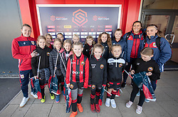 Frankie Brown, Eartha Cumings and Poppy Wilson of Bristol City Women pose with mascots from Gloucester City LFC - Mandatory by-line: Paul Knight/JMP - 17/11/2018 - FOOTBALL - Stoke Gifford Stadium - Bristol, England - Bristol City Women v Liverpool Women - FA Women's Super League 1