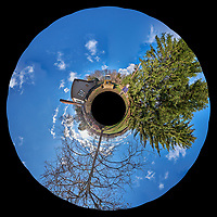 Backyard Sout East 360 degree Little Planet View. Composite of 25 images taken with a Fuji X-T1 camera and Zeiss 12 mm f/2.8 lens (ISO 200, 12 mm, f/11, 1/125 sec). Raw images processed with Capture One Pro and AutoPano Giga Pro.