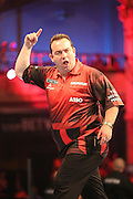 Brendan Dolan celebrates wining a leg during the First Round of the BetVictor World Matchplay Darts at the Empress Ballroom, Blackpool, United Kingdom on 19 July 2015. Photo by Shane Healey.