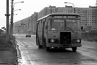 Communist blocks of flats with local bus.<br />