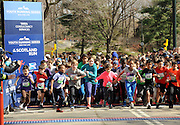 Hundreds of kids ages 7-18 participate in the first NYRR Youth Running Series at the Scotland Run in New York's Central Park to celebrate Scotland Week festivities, Saturday, April 4, 2015.  (Photo by Diane Bondareff/Invision for Scottish Government/AP Images)