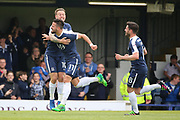 Southend United midfielder Stephen McLaughlin (11) celebrating after scoring goal to make it 1-0 during the EFL Sky Bet League 1 match between Southend United and Bury at Roots Hall, Southend, England on 30 April 2017. Photo by Matthew Redman.