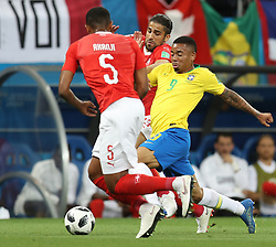 ROSTOV-ON-DON, June 17, 2018  Gabriel Jesus (R) of Brazil competes during a group E match between Brazil and Switzerland at the 2018 FIFA World Cup in Rostov-on-Don, Russia, June 17, 2018. (Credit Image: © Lu Jinbo/Xinhua via ZUMA Wire)