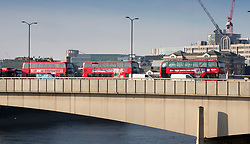 © Licensed to London News Pictures. 30/11/2019. London, UK. Abandoned buses on London Bridge the day after a terrorist attack. Two people were killed and three injured after the attacker, named by police as 28-year-old Usman Khan stabbed a man and a woman to death on London Bridge. Photo credit: Peter Macdiarmid/LNP