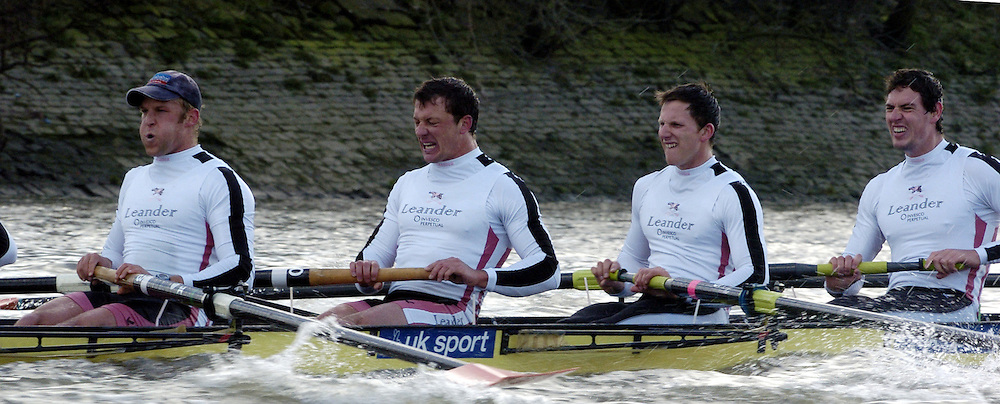 2005 Boat Race, Pre race fixture, Oxford UBC vs Leander Club, Putney, London;  ENGLAND; Leander Club [right to left] Rick Egington, 5,Matt Langridge, 6. Steve Williams, .Photo  Peter Spurrier. .email images@intersport-images...[Mandatory Credit Peter Spurrier/ Intersport Images] Varsity:Boat Race Rowing Course: River Thames, Championship course, Putney to Mortlake 4.25 Miles