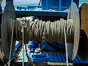 23 AUGUST 2018 - TELUK BAHANG, PENANG, MALAYSIA: A winch on a commercial fishing trawlers in port in Teluk Bahang on the island of Penang. Fishermen on Penang, an island off the west coast of mainland Malaysia, are being pressured by the island's resort development and reduce catches in the waters off Malaysia.     PHOTO BY JACK KURTZ