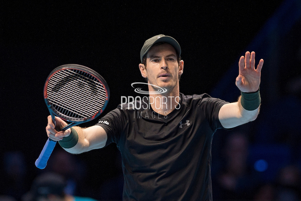 Andy Murray of Great Britain debates with the umpire during the semi-final and day seven of the Barclays ATP World Tour Finals at the O2 Arena, London, United Kingdom on 19 November 2016. Photo by Martin Cole.