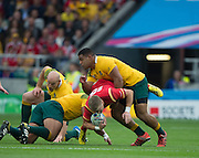 Twickenham, Great Britain,  Australia's Scott SIO, bodley lifts Garthe ANSCOMBE and ball, during the Pool A game, Australia vs Wales.  2015 Rugby World Cup,  Venue, Twickenham Stadium, Surrey, ENGLAND.  Saturday  10/10/2015.   [Mandatory Credit; Peter Spurrier/Intersport-images]