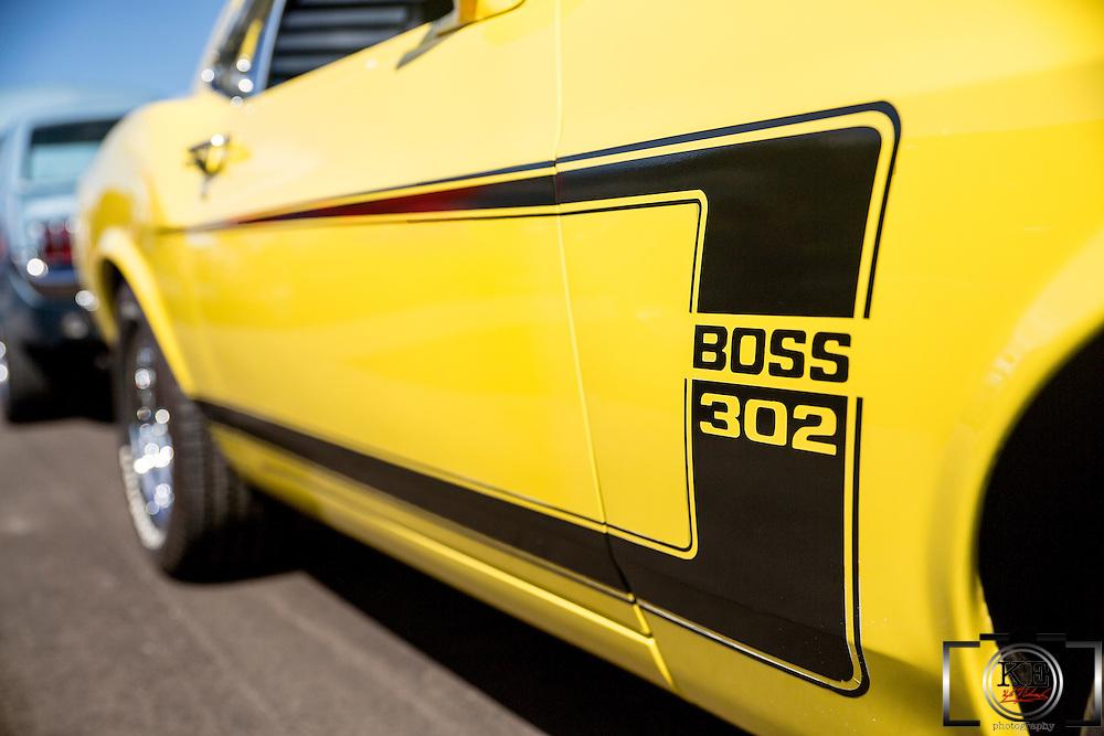 A closeup of a 1970 Mustang Boss 302.