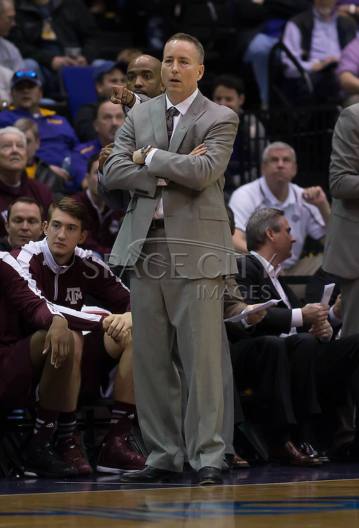 Baton Rouge, Louisiana- January 17, 2015.<br /> <br /> Texas A&amp;M's head coach Billy Kennedy watches on as his squad defeated LSU 67-64.<br /> <br /> Photo By: J.Hicks/ Space City Images