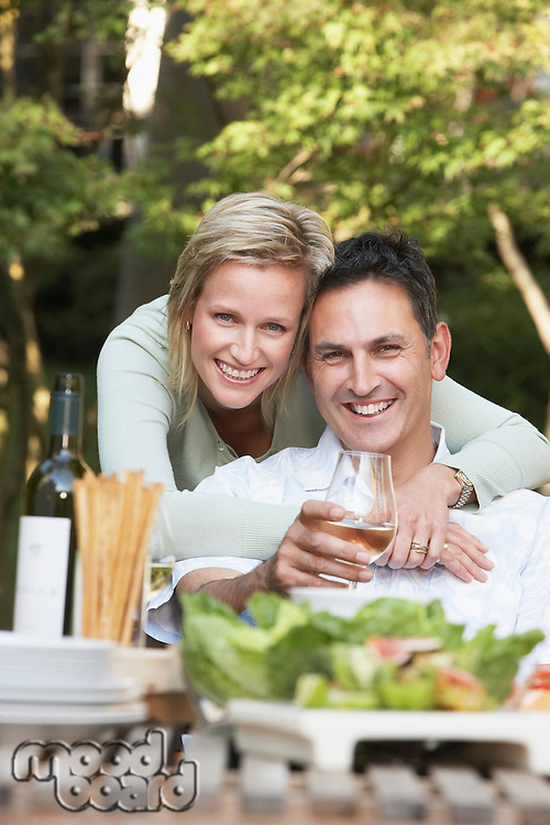 Couple Enjoying a Meal Outdoors