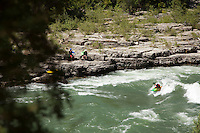 "Whitewater kayaking near the ""Lunch Counter Rapid"" (class 3) on the Snake River near Jackson,  Wyoming."