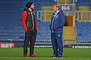 Bradford City Manager Stuart McCall talks to Bradford City midfielder Romain Vincelot (6) during the EFL Trophy match between Oxford United and Bradford City at the Kassam Stadium, Oxford, England on 31 January 2017. Photo by Alan Franklin.