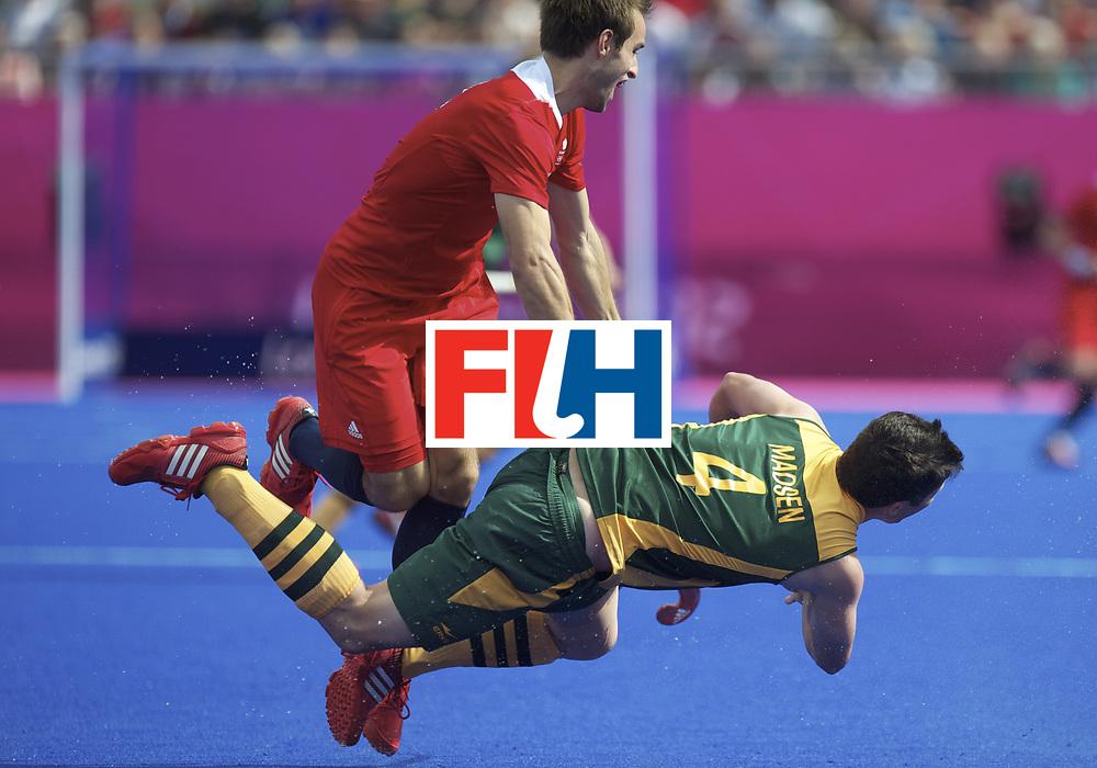 LONDON - Olympische Spelen 2012.Men match .South Africa v Great Britain.foto: Lloyd Madsen  flying..FFU Press Agency COPYRIGHT FRANK UIJLENBROEK.
