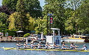 Henley on Thames, England, United Kingdom, 4th July 2019, Henley Royal Regatta, Temple Challenge Trophy, Northeastern University A,  pass  the one mile and one eight barrier,  Henley Reach, [© Peter SPURRIER/Intersport Image]<br /> 12:21:05 1919 - 2019, Royal Henley Peace Regatta Centenary,