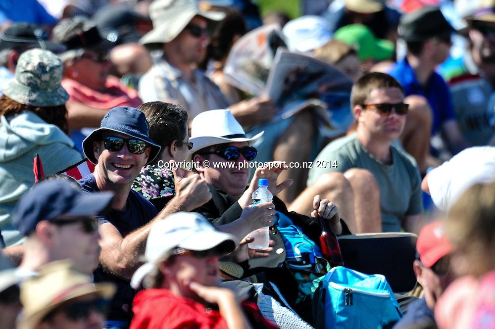 Fans in the 1st day of the cricket test match, NZ v Sri Lanka, Hagley Oval, 26 December 2014. Photo:John Davidson/www.photosport.co.nz