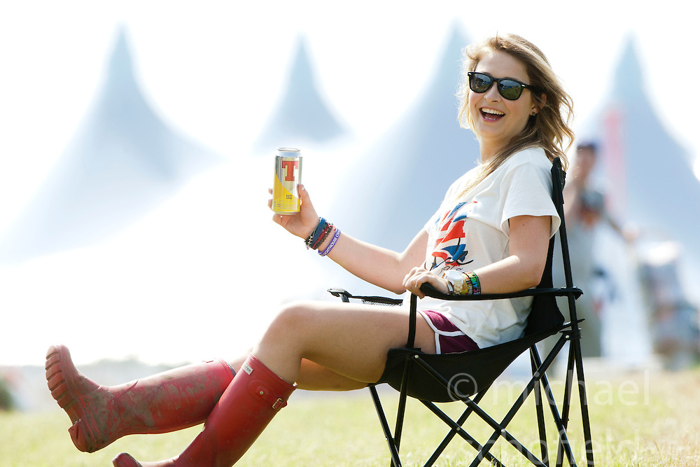Fans arriving at the opening of the campsite for the T in the Park 2012 music festival, held at Balado, in Fife, Scotland..