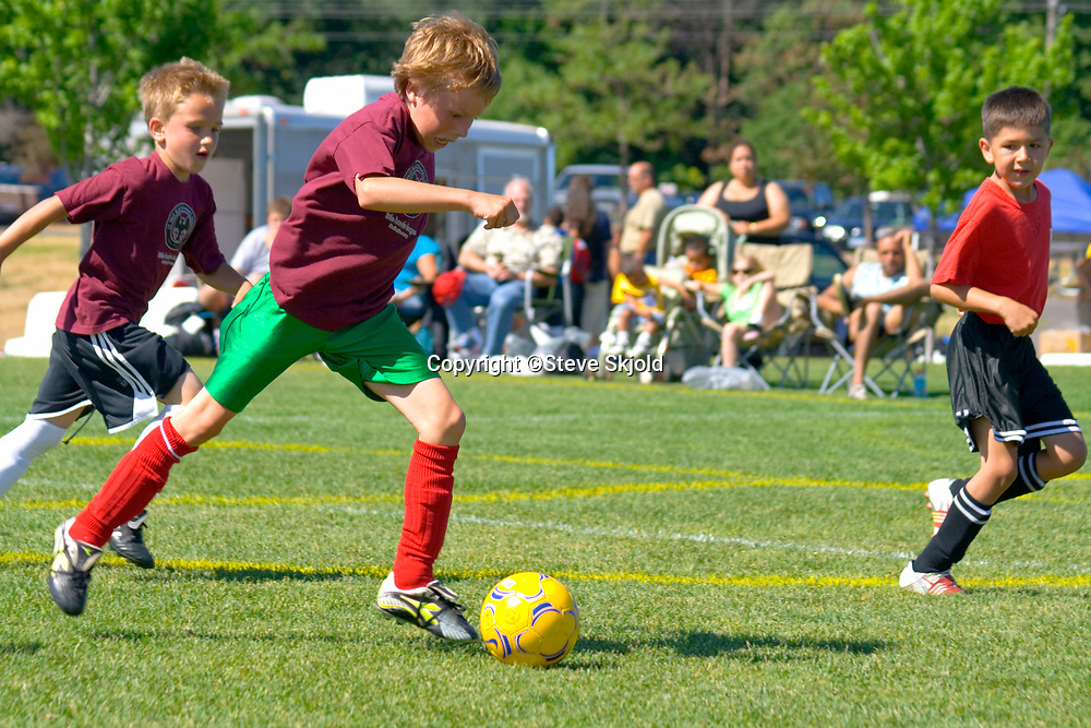 Soccer players age 8 kicking ball during action filled game. St Paul Minnesota MN USA