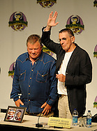 Atlanta -  Former Star Trek star William Shatner, Captain James Tiberius Kirk smiles as  Leonard Nimoy, Mr. Spock, gives the Vulcan hand sign during the Dragon Con convention at the Hyatt on Friday, September 4, 2009. <br /> &copy; 2009 Johnny Crawford
