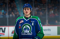 REGINA, SK - MAY 23: Matteo Gennaro #34 of the Swift Current Broncos lines up against the Regina Pats at the Brandt Centre on May 23, 2018 in Regina, Canada. (Photo by Marissa Baecker/CHL Images)