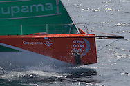 NEW ZEALAND, Takou Bay. 10th March 2012. Volvo Ocean Race Leg 4. Groupama bow showing delamination following a collision with a floating object.