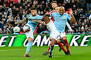 Nicolas Otamendi (30) of Manchester City and Vincent Kompany (4) of Manchester City get in a tangle during the EFL Cup Final match between Arsenal and Manchester City at Wembley Stadium, London, England on 25 February 2018. Picture by Graham Hunt.