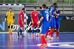 Players of team France celebrate goal during futsal match between France and Azerbaijan at Day 4 of UEFA Futsal EURO 2018, on February 2, 2018 in Arena Stozice, Ljubljana, Slovenia. Photo by Urban Urbanc / Sportida