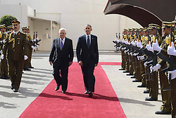 Palestinian President Mahmoud Abbas (R) with U.S. President Barack Obama upon his arrival in the West Bank city of Ramallah on March 21, 2013. Obama arrived in Tel Aviv in Israel Wednesday to start his Mideast tour. Obama will spend three days in Israel, the Palestinian territories and Jordan, March 21, 2013. Photo by Imago / i-Images...UK ONLY.