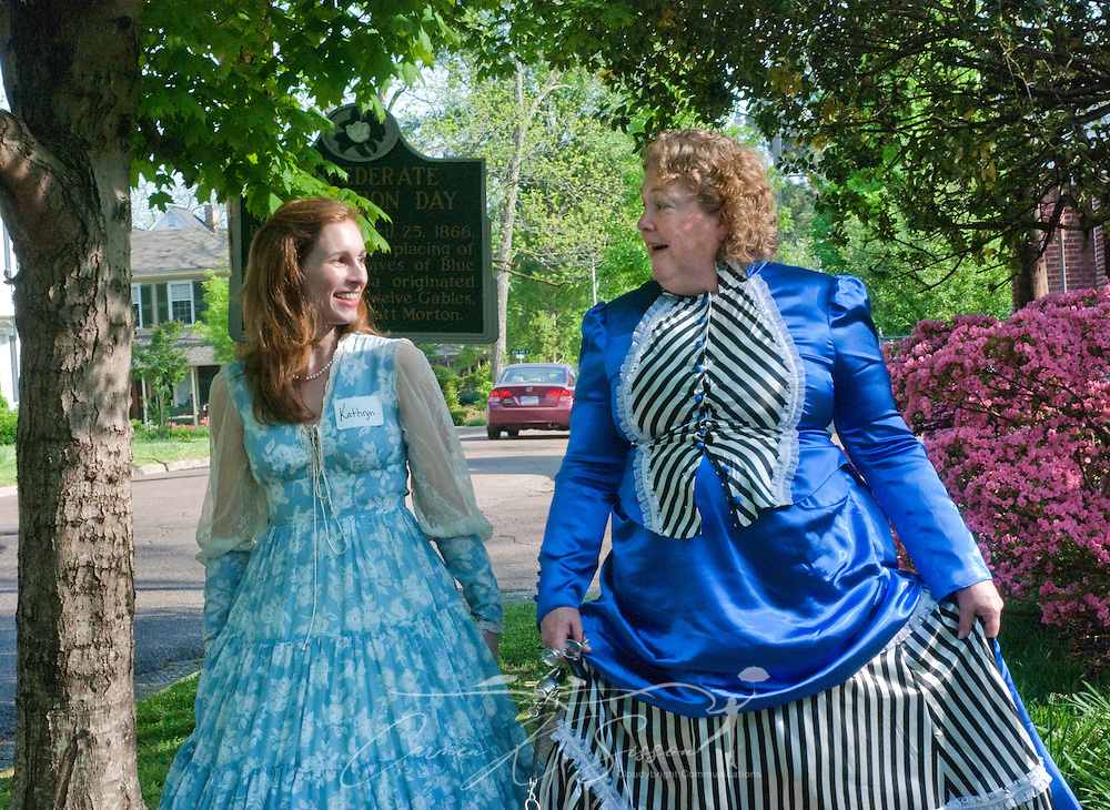 Kathryn Gittone (left) and Rachel George stroll past Twelve Gables in Columbus, Miss. April 16, 2010. The 1838 home  was among nearly two dozen on tour during Columbus' annual Spring Pilgrimage. (Photo by Carmen K. Sisson/Cloudybright)