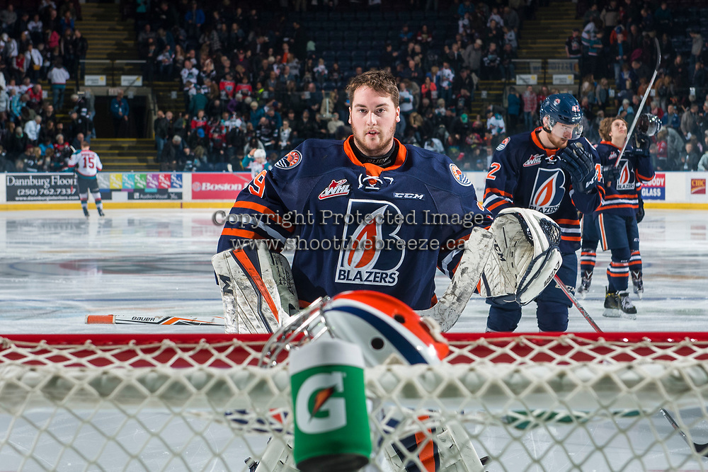 KELOWNA, CANADA - MARCH 31: Connor Ingram #39 of the Kamloops Blazers skates to the net after the national anthem against the Kelowna Rockets on March 31, 2017 at Prospera Place in Kelowna, British Columbia, Canada.  (Photo by Marissa Baecker/Shoot the Breeze)  *** Local Caption ***