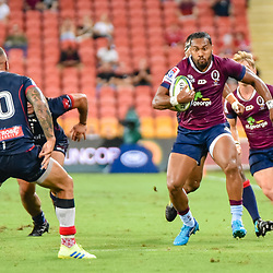Sefa Naivalu of Queensland Reds makes a break during the Super Rugby Round 7 match between Queensland Reds and Melbourne Rebels at Suncorp Stadium on March 30, 2019 in Brisbane, Queensland, Australia. (Photo by Stephen Tremain)