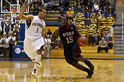 Jan 14, 2012; Berkeley CA, USA;  Utah Utes guard Josh Watkins (15) dribbles past California Golden Bears guard Justin Cobbs (1) during the first half at Haas Pavilion.  Mandatory Credit: Jason O. Watson-US PRESSWIRE