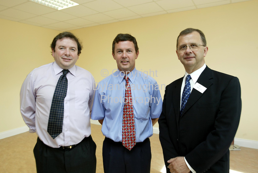 2/9/2002.Pictured at the launch of Waterford Institute of Technology's newly established Department of Nursing and Health Sciences was from left Joe Mooney Acting Project Manager, Aidan McGrath I.T Manager and Eric Martin Head of the School of Sciences..Picture Dylan Vaughan