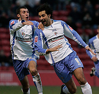 Photo: Dave Howarth.<br />Rotherham United v Swindon Town. Coca Cola League 1.<br />03/12/2005. <br />Rory Fallon and Neal McDermott celebrate Swindon's first goal