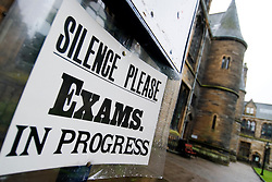 Detail of sign asking for silence during examinations at Glasgow University in Scotland
