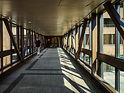 03 MAY 2017 - MINNEAPOLIS, MN: A person in a Minneapolis skyway. The skyways are enclosed pedestrian overpasses that connect downtown buildings. The Minneapolis Skyway was started in the early 1960s as a response to covered shopping malls in the suburbs that were drawing shoppers out of the downtown area. The system grew sporadically until 1974, when the construction of the IDS Center and its center atrium, called the Crystal Court, served as a hub for the downtown skyway system. There are 8 miles of skyways, connecting most of the downtown buildings from Target Field (home of the Minnesota Twins) to US Bank Stadium (home of the Minnesota Vikings). In the last five years many upscale downtown apartment buildings and condominium developments have been added to the system, allowing downtown residents to live and work downtown without going outside.    PHOTO BY JACK KURTZ