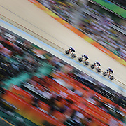 Track Cycling - Olympics: Day 8  The United States team of Sarah Hammer, Kelly Catlin, Chloe Dygert and Jennifer Valente winning the silver medal during the Women's Team Pursuit Final during the track cycling competition at the Rio Olympic Velodrome August 12, 2016 in Rio de Janeiro, Brazil. (Photo by Tim Clayton/Corbis via Getty Images)