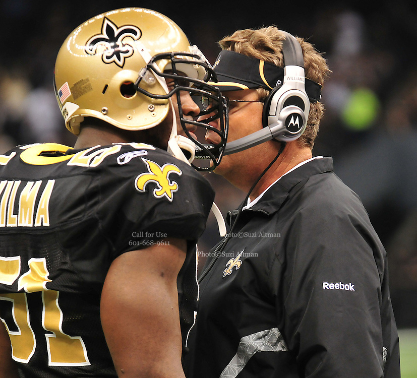 ILE ** Jonathan Vilam Defensive limeman for the New Olreans Saints is appealing his suspension from the NFL regaridng his role in the bounty system. Vilam and Defensive coach Greg Williams get into it on the sidelines dirung the SAints -v- the Seahwaks. The New Orleans Saints play the Seattle Seahawks Sunday Nov. 21, 2010 in New Orleans at the Super Dome. It is RB Reggie Bush's first game to play since breaking his fibula and Reggie is also playing against his old USC college Coach. Photo©SuziAltman.