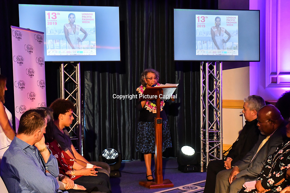 Her Excellency, Ms Winnie Kiap of Papua New Guinea speech of LPFW Climate Change at the London Pacific Fashion Week 2019 at Royal Horseguards Hotel, on 13 September 2019, London, UK.