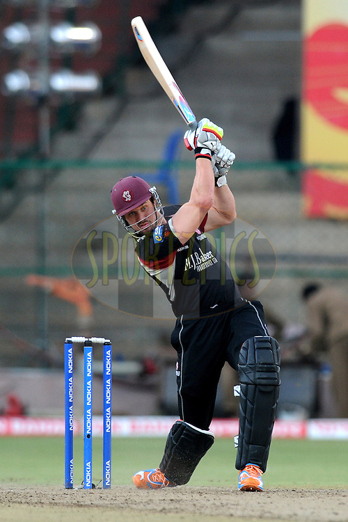 Nick Compton of Somerset bats during match 19 of the NOKIA Champions League T20 ( CLT20 ) between the Warriors and Somerset held at the  M.Chinnaswamy Stadium in Bangalore , Karnataka, India on the 5th October 2011..Photo by Pal Pillai/BCCI/SPORTZPICS