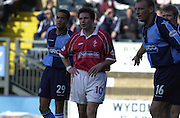 Peter Spurrier Sports  Photo.email pictures@rowingpics.com.Tel 44 (0) 7973 819 551.Nationwide Division 2 .Wycombe Wanders FC v Swindon Town FC..27-10-2001.1st Half..Giuliano Grazioli.