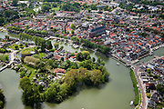 Nederland, Noord-Holland, Weesp, 25-05-2010. Centrum van Weesp, overzicht met fort Ossenmarkt en rivier de Vecht.luchtfoto (toeslag), aerial photo (additional fee required).foto/photo Siebe Swart