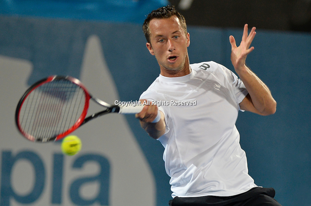 14.01.15 Sydney, Australia. Philipp Kohlschreiber (GER) in action against Bernard Tomic (AUS)   during his singles match at the Apia International Sydney.